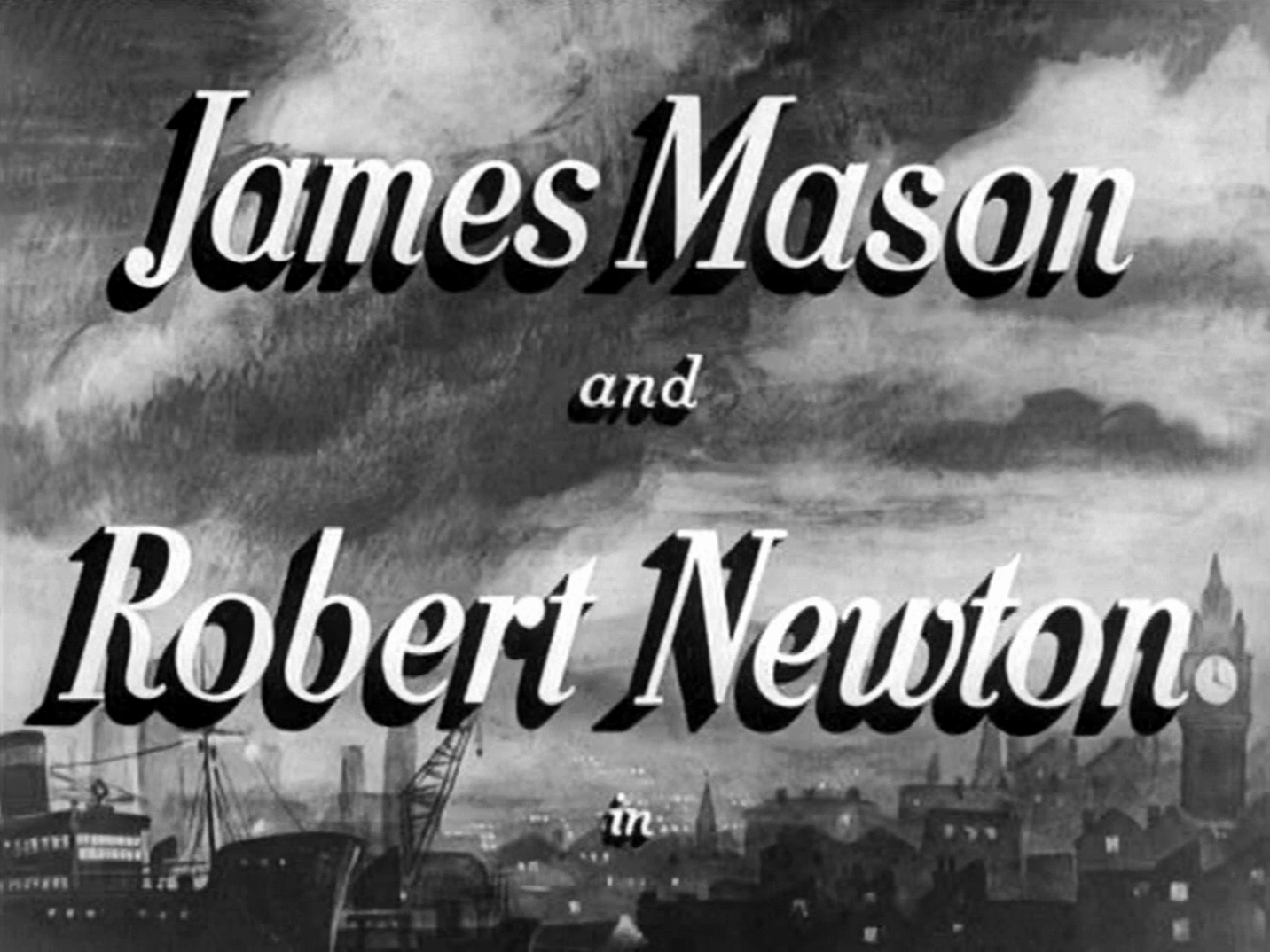 Main title from Odd Man Out (1947) (3).  James Mason and Robert Newton in