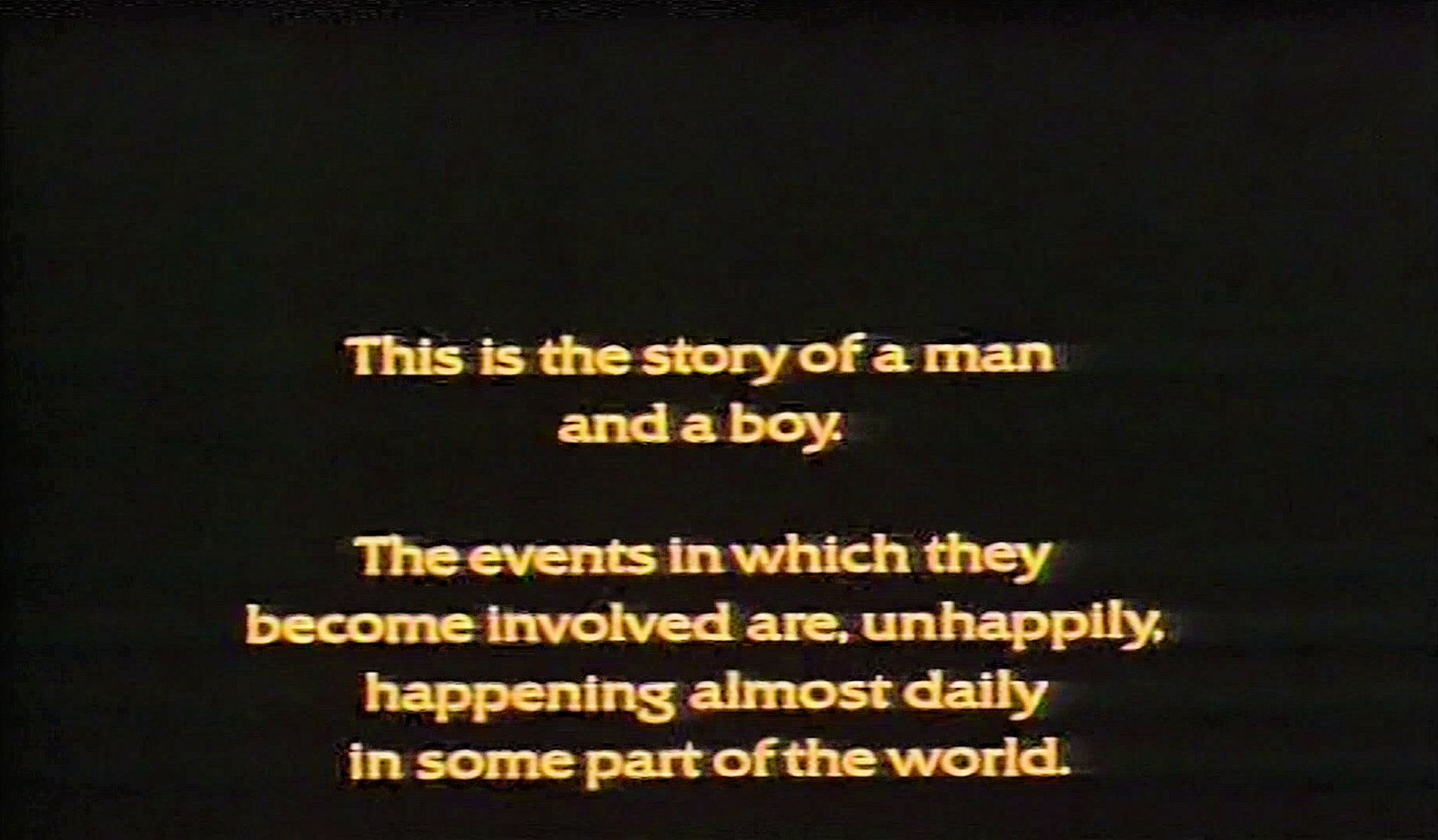 Main title from Paper Tiger (1975) (1).  'This is the story of a man and a boy.  The events in which they become involved are unhappily, happening almost daily in some part of the world.'