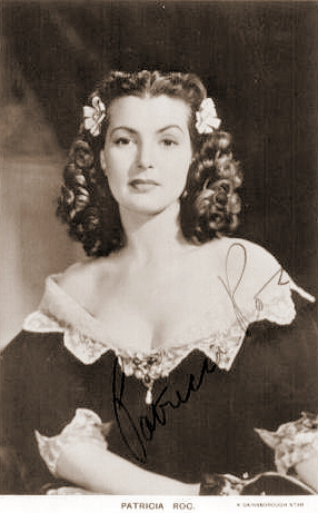 Patricia Roc, a Gainsborugh star, poses in costume for an autographed photo