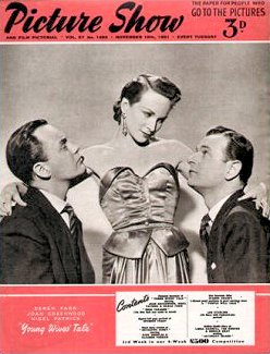 Picture Show magazine with Derek Farr, Joan Greenwood, and  Nigel Patrick in Young Wives' Tale.  10th November, 1951.