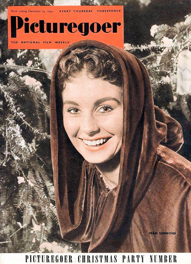 Picturegoer magazine week ending 24th December, 1949 (1) featuring Jean Simmons. Picturegoer Christmas party number. Every Thursday, three pence. The national film weekly