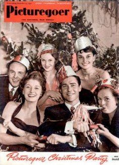 Picturegoer magazine with Derek Farr, Helen Cherry, Joan Greenwood, Richard Todd, Audrey Hepburn, and Phyllis Calvert.  December, 1950.  Picturegoer Christmas Party.