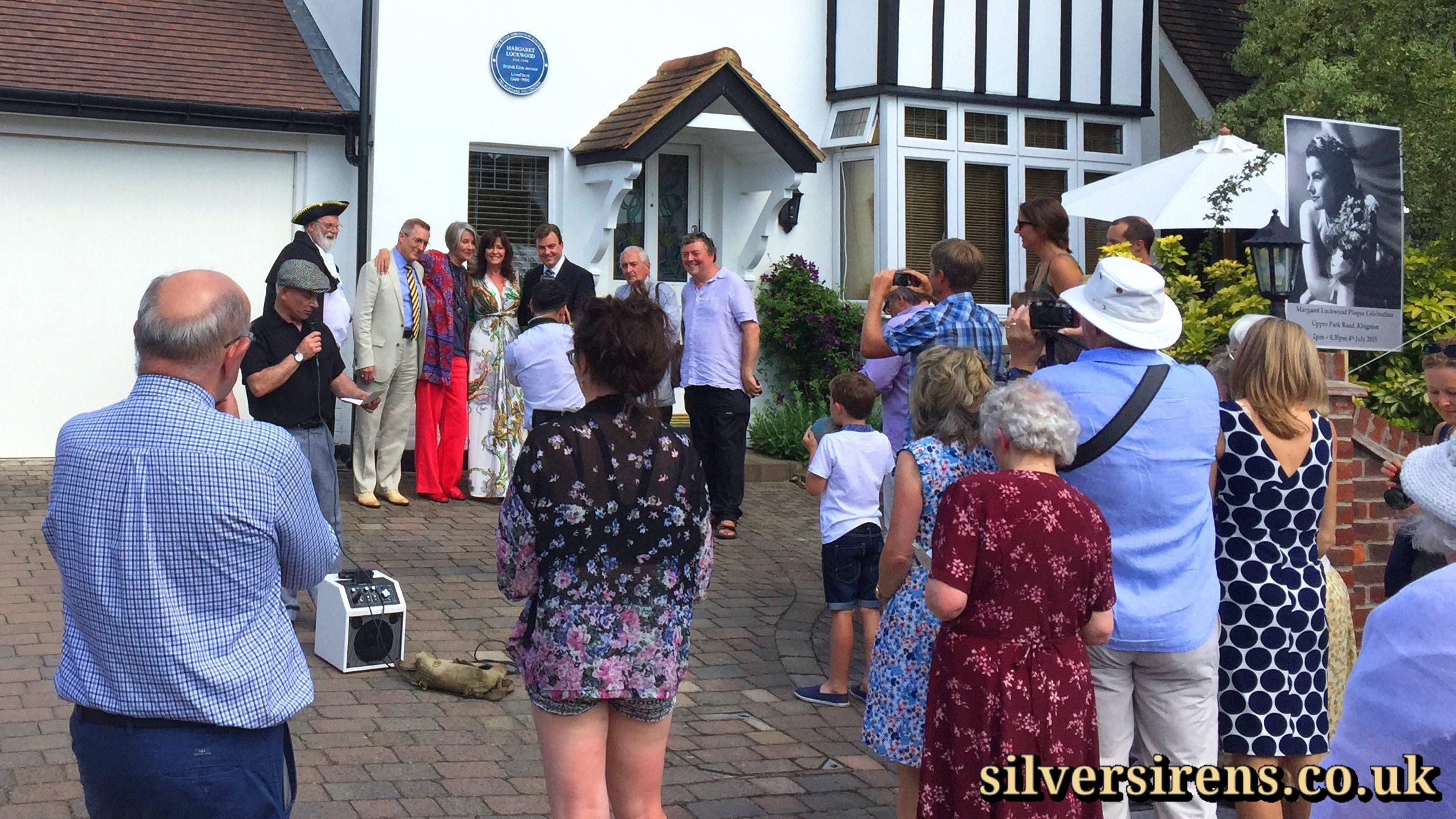 Press photo call following the unveiling of a commemorative blue plaque for British actress Margaret Lockwood at 34, Upper Park Road, Kingston upon Thames, Surrey.  Photo shows (L-R): Councillor David Cunningham, Dennis Gimes, Julia Lockwood, Vicki Michelle, Richard Williams, Hilton Tims, Tim Harrison