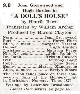 Radio Times magazine featuring A Doll's House.  8th November, 1952.