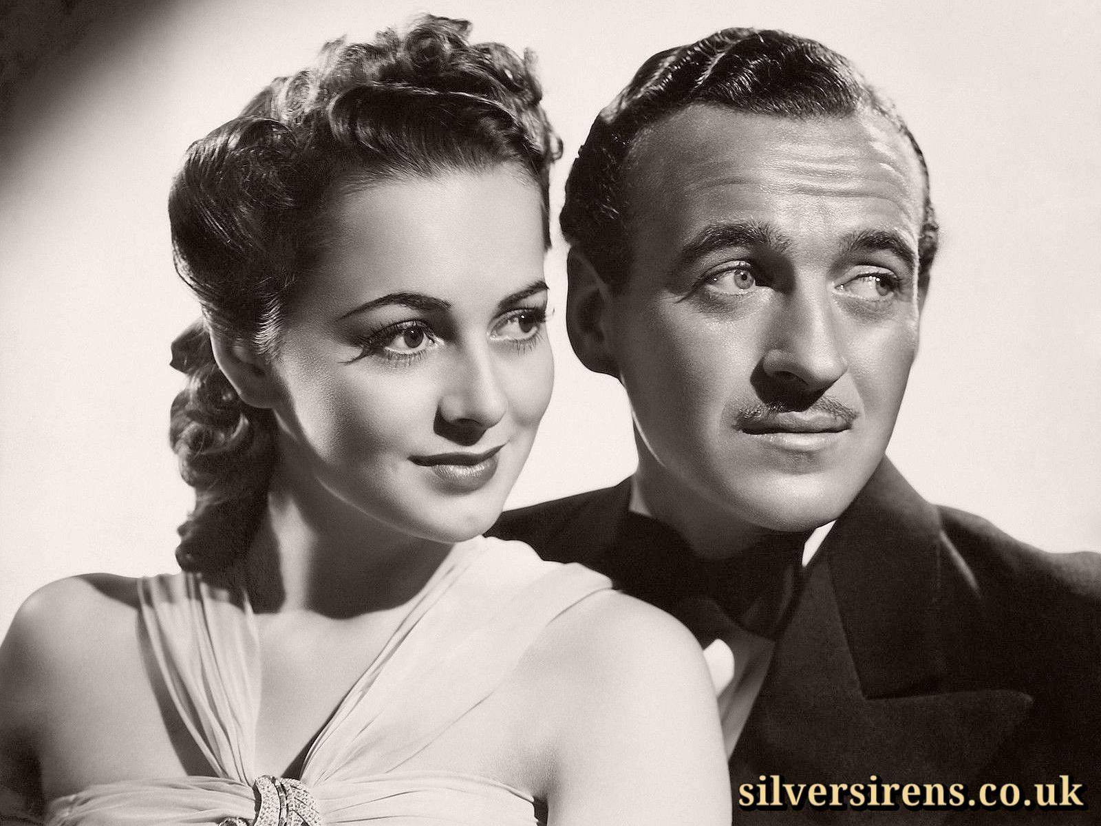 David Niven as Raffles, and Olivia de Havilland as Gwen, in a promotional shot for Raffles (1939)