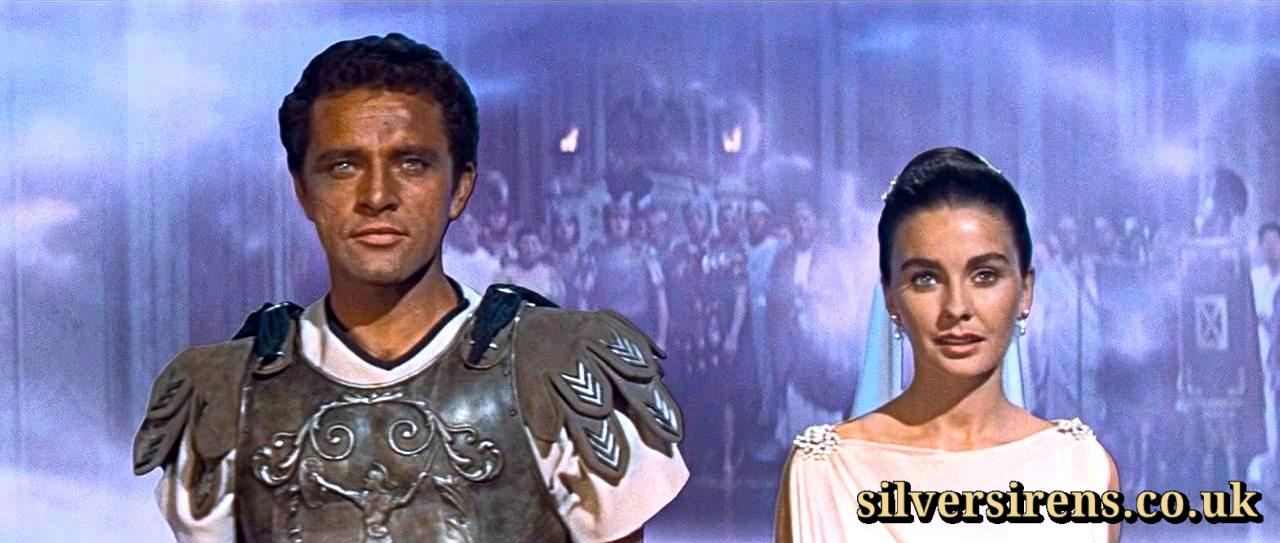 Richard Burton and Jean Simmons (as Marcellus Gallio and Diana) in the finale of The Robe (1953)