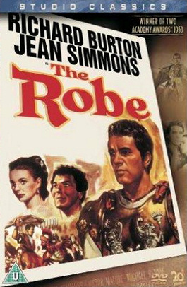 Jean Simmons (as Diana) and Richard Burton (as Marcellus Gallio) in a DVD cover of The Robe (1953) (2)
