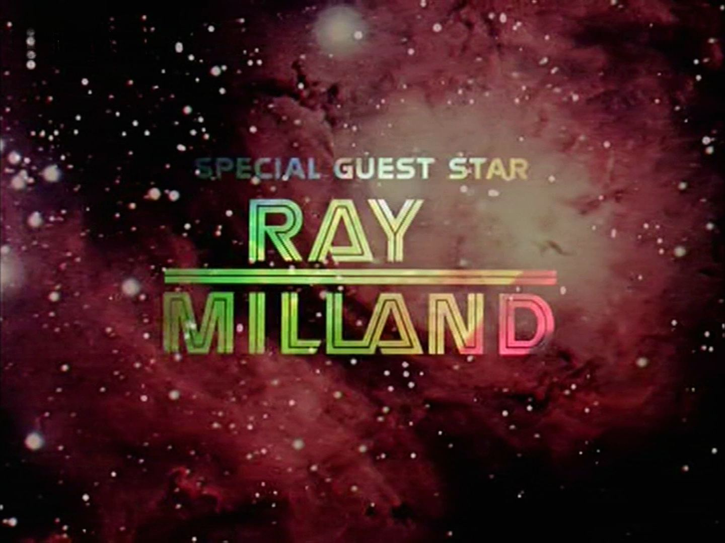 Main title from the 1978 'Saga of a Star World' story of Battlestar Galactica (1978-79) (11). Special guest star Ray Milland