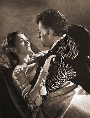 Christine Kaufmann (as Serenella Arconti) and Stewart Granger (as Thomas Stanswood) in a photograph from Swordsman of Siena (1962) (1)