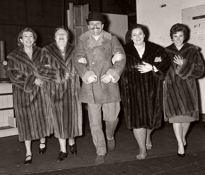 Terry-Thomas leads the cast of Make Mink Mink (1960)  Dressed in furs (L-R) are Elspeth Duxbury Athene Seyler, Hattie Jaques and Billie Whitelaw