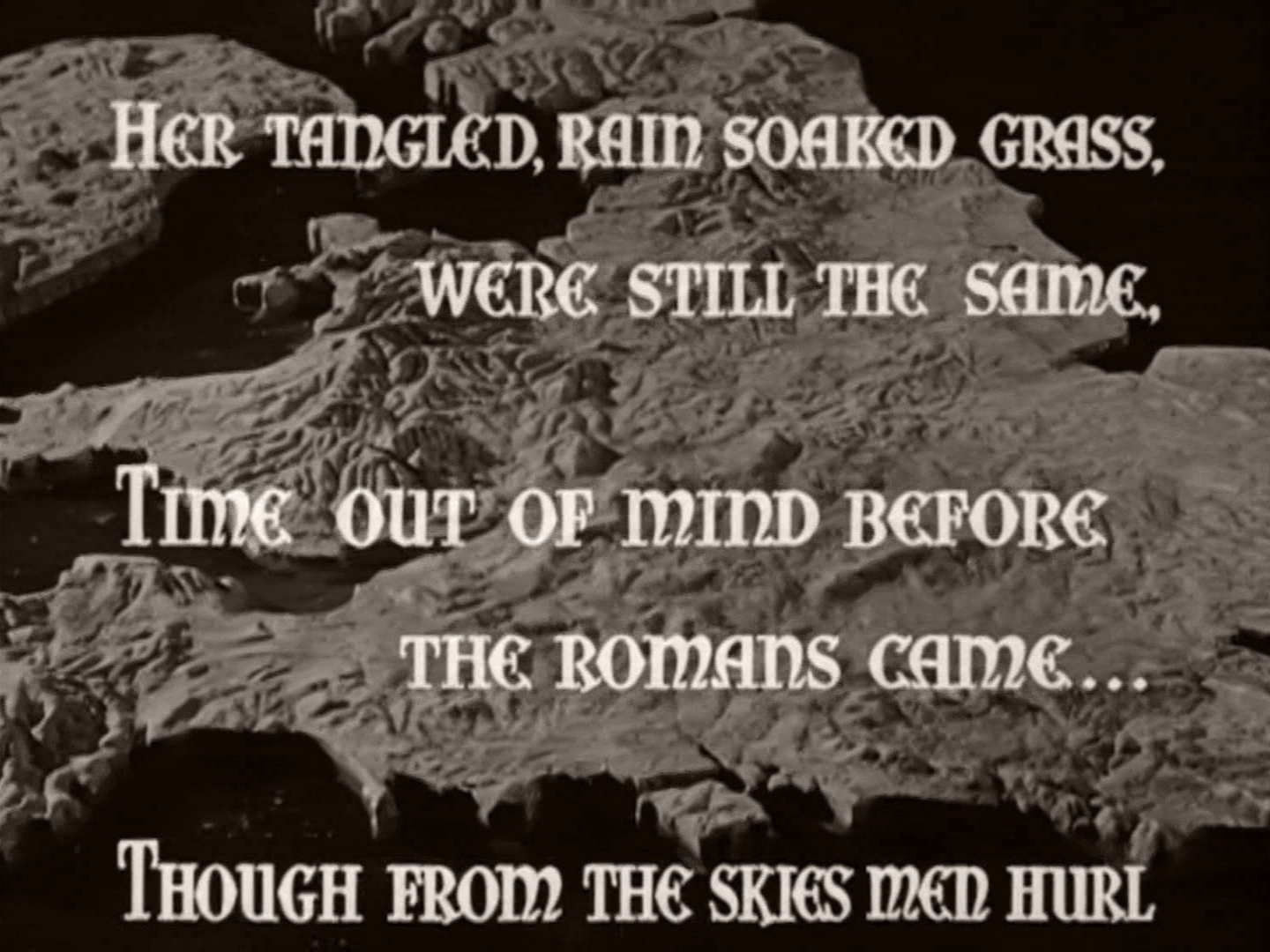 Main title from This England (1941) (3). Her tangled, rain soaked grass were still the same, time out of mind before the Romans came…