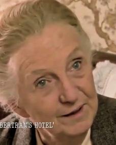 Screenshot from Agatha Christie's England (2021) (2) featuring Joan Hickson. Miss Marple: At Bertram's Hotel. BBC, 1987