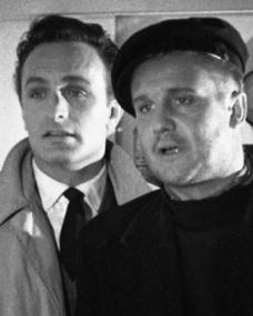 Dmitri Krassin (Anton Diffring) and Albert Pascoe (Donald Houston) at sea in a scene from Doublecross (1955)