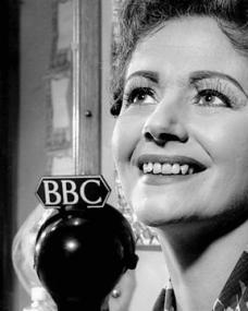Margaret Lockwood at the microphone during her second appearance on the BBC radio programme, Desert Island Discs