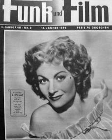 Funk und Film magazine with Margaret Lockwood in Cardboard Cavalier.  14th January, 1949, issue number 2.  (German)