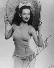 Gainsborough star Jean Kent sports a large hat in this autographed photo