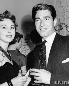 British actress Hazel Court and Irish leading man Dermot Walsh at a party in the late 1940s (possibly early 50s).  Picture reads 'To Peter, Hazel Court.  To Peter, Sincerely Dermot Walsh'.