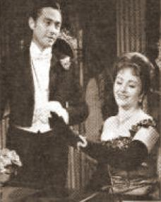 Michael Denison and Margaret Lockwood (as Mrs Cheveley) in a photograph from An Ideal Husband (1965) (2)