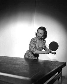 British film star Joan Greenwood  playing table tennis