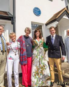 Julia Lockwood is joined in Upper Park Road, Kingston upon Thames, by local councillors, the presentation party and dignitaries from The Heritage Foundation. On the house wall behind the group is a blue plaque to commemorate the British actress Margaret Lockwood, who was a long-term resident of the borough.  Picture shows (L-R): Councillor David Cunningham, Dennis Gimes (The Heritage Foundation), Councillor Mary Clark [Deputy Mayor], Julia Lockwood, Vicki Michelle (The Heritage Foundation), Richard Williams (Silver Sirens), Hilton Tims and Tim Harrison