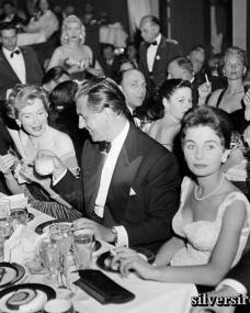 Deborah Kerr, Stewart Granger and Jean Simmons attend the Golden Globe Awards at Ciro's nightclub in Los Angeles, CA.  21st February, 1952.