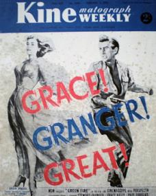 Kinematograph Weekly magazine with Grace Kelly and  Stewart Granger in Green Fire.  3rd February, 1953.  Grace! Granger! Great!