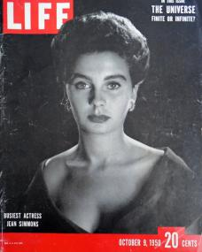 "Life magazine with Jean Simmons.  9th October, 1950.  Cover reads: ""Busiest actress Jean Simmons""."