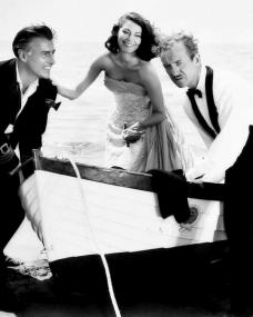 Stewart Granger (as Sir Philip Ashlow), Ava Gardner (as Lady Susan Ashlow) and David Niven (as Henry Brittingham-Brett) in a photograph from The Little Hut (1957) (8)