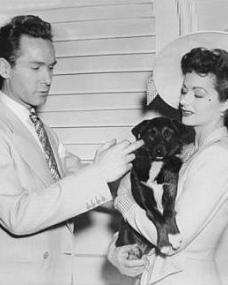 Margaret Lockwood holds aloft a dog for Griffith Jones to pet.