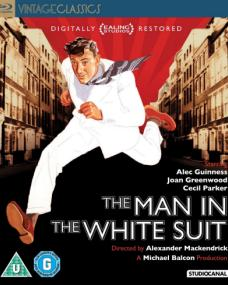 Front cover of The Man in the White Suit Blu-ray featuring Alec Guinness.  Part of the Vintage Classics series from Studio Canal.
