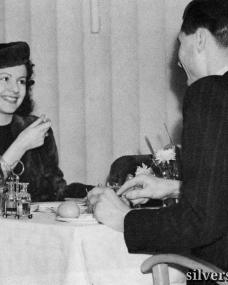 Margaret Lockwood dines with her husband Rupert Leon for a press call.  The couple later set sail aboard Cunard Line's cruise ship Queen Mary
