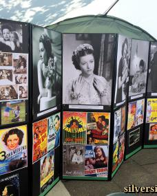 Margaret Lockwood blue plaque exhibition marquee, featuring photos, lobby cards and posters from the actress's extensive film career
