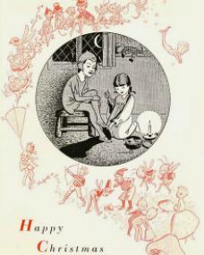Stylised Christmas Card featuring Margaret Lockwood and Julia Lockwood