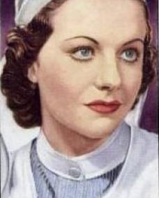 Cigarette card featuring Margaret Lockwood as a nurse in Bank Holiday