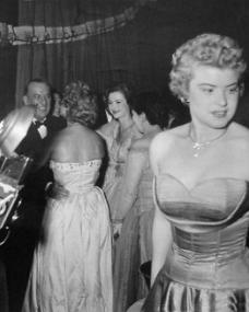 Margaret Lockwood and others in a receiving line at a London film premiere
