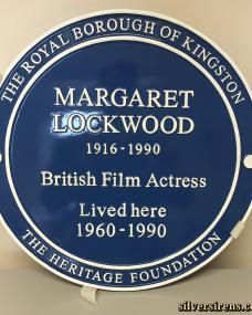 "Commemorative blue plaque for British Actress, Margaret Lockwood.  Plaque reads: ""Margaret Lockwood 1916-1990 British Film Actress Lived Here 1960-1990.  The Royal Borough of Kingston.  The Heritage Foundation""."