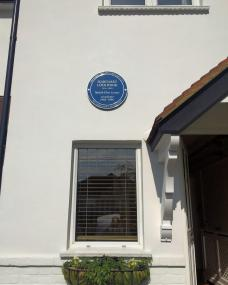 Margaret Lockwood commemorative blue plaque in situ erected on the front wall of her former house from 1960 to 1990: 34 Upper Park Road, Kingston upon Thames, Surrey.  Saturday, 4th July, 2015