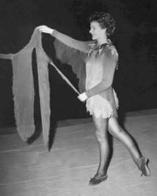 Margaret Lockwood in rehearsals for Peter Pan at the Scala Theatre, 1949
