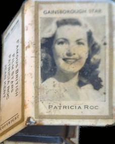 Matchbook holder featuring Gainsborough star Patricia Roc.   Famous british actress Jean Kent is on the reverse