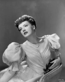 Auburn-haired Phyllis Calvert, considered England's most beautiful dramatic actress, makes her American film début in Rachel Field's 'Time Out of Mind', as filmed by Universal-International.  The 'lend-lease' beauty was recently starred with James Mason in J. Arthur Rank's 'They Were Sisters'.  'Time Out of Mind', produced and directed by Robert Siodmak, co-stars Miss Calvert with Robert Hutton and Ella Raines.