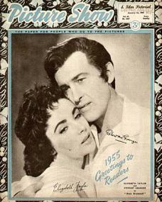 Picture Show magazine with Elizabeth Taylor and  Stewart Granger in Beau Brummell.  1st January, 1955.  1955 greetings to readers.