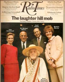 Radio Times magazine with Joan Greenwood, Sir Michael Balcon,  Cecil Parker, Barbara Murray, and Dame Margaret Rutherford.  5th September, 1970.  The laughter hill mob; the Ealing comedies.