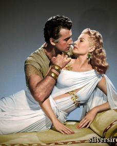 Stewart Granger (as Commander Claudius) and Rita Hayworth (as Princess Salome) in a photograph from Salome (1953) (12)