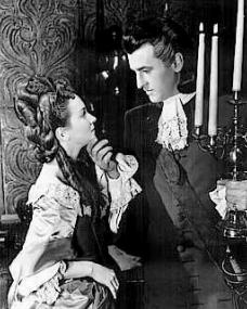 Joan Greenwood (as Sophie Dorothea) and Stewart Granger (as Count Philip Konigsmark) in a photograph from Saraband for Dead Lovers (1948) (3)