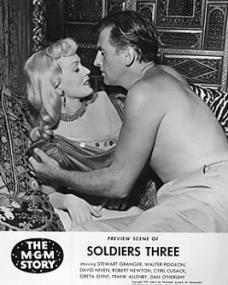 Greta Gynt (as Crenshaw) and Stewart Granger (as Pvt Archibald Ackroyd) in a pressbook for Soldiers Three (1951) (1)