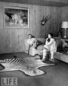 Actress Jean Simmons, lounging with her actor husband Stewart Granger and their miniature poodle in the recreation room with a large zebra skin rug on the floor