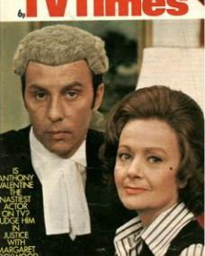 TV Times magazine with Anthony Valentine and  Margaret Lockwood  in Justice.  18th May, 1974.  Is Anthony Valentine the nastiest actor on TV?  Judge him in Justice with Margaret Lockwood.