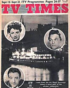 TV Times magazine with Margaret Lockwood and  Peter Sellers in Salute to Showbusiness.  21st September, 1957.