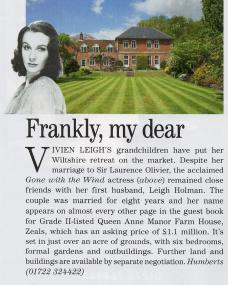 Country Life reports the sale of Vivien Leigh's former home in Wiltshire.  Article from 26<sup>th</sup> July 2017.