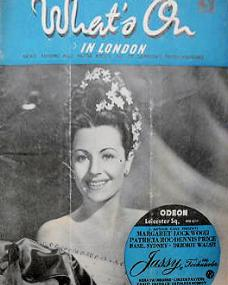 What's On in London magazine with Margaret Lockwood in Jassy.  15th August, 1947.  A screening of Jassy at the Odeon, Leicester Square.